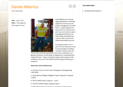 construction inspector profile page