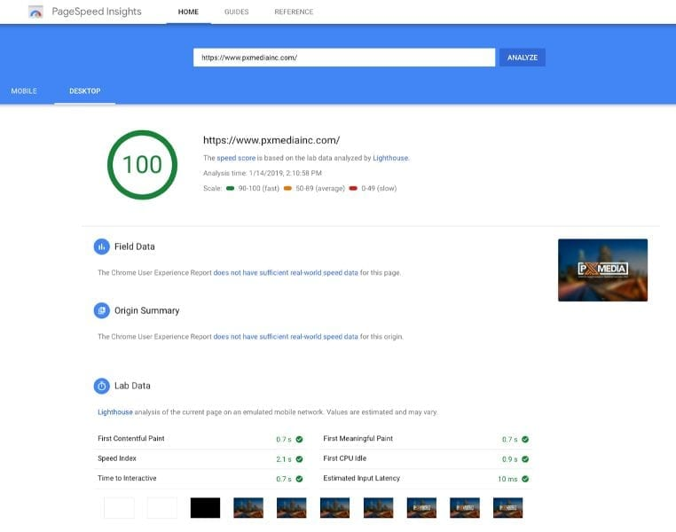 Google PageSpeed Insights Report